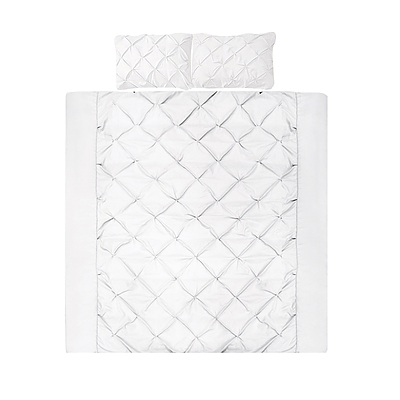 Giselle Bedding Super King Size Quilt Cover Set - White - Free Shipping