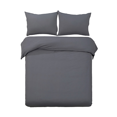 Giselle Bedding Super King Size Classic Quilt Cover Set - Charcoal - Free Shipping