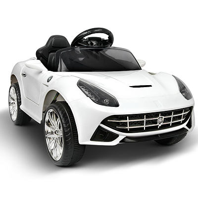 Kid's Electric Ride on Car Ferrari F12 Style - White - Free Shipping
