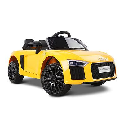 Kid's Electric Ride on Car Licensed Audi R8 - Yellow - Free Shipping