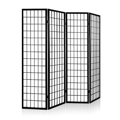 4 Panel Wooden Room Divider - Black - Free Shipping