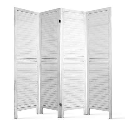 Timber 4 Panel Room Divider - White - Free Shipping
