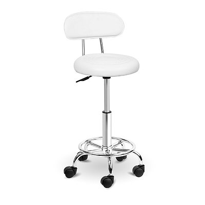 PU Leather Swivel Salon Stool - White - Free Shipping