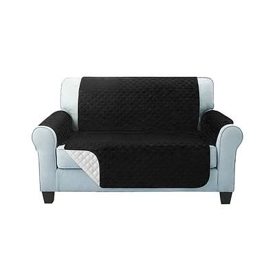 Sofa Cover Quilted Couch Covers Protector Slipcovers 2 Seater Black - Brand New - Free Shipping