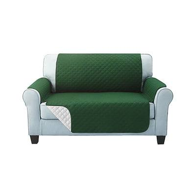 Sofa Cover Quilted Couch Covers Protector Slipcovers 2 Seater Green - Brand New - Free Shipping