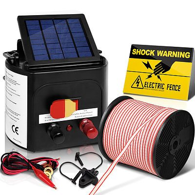 3km Solar Electric Fence Energiser Charger with 400M Tape and 25pcs Insulators - Brand New - Free Shipping