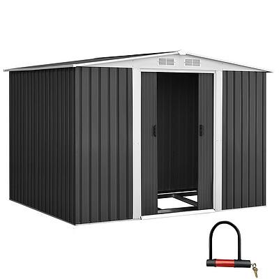 2.05 x 2.57m Steel Base Garden Shed - Grey