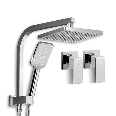 Square 8 inch Rain Shower Head and Taps Set Bathroom Handheld Spray Bracket Rail Chrome - Brand New - Free Shipping