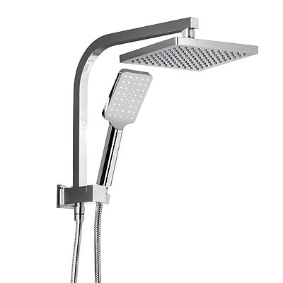 8 inch Rain Shower Head Square Wall Bathroom Arm Handheld Spray Bracket Rail Chrome - Brand New - Free Shipping
