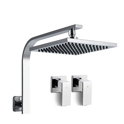 8 Rain Shower Head Set Bathroom Gooseneck Square Taps Hand Held High Pressure DIY