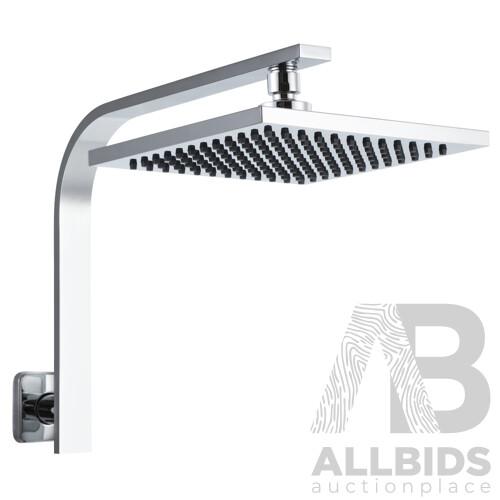 8 Rain Shower Head Set Bathroom Gooseneck Square Faucet High Pressure Hand Held