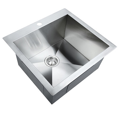 Stainless Steel Kitchen Laundry Sink with Strainer Waste 530 x 500mm - Brand New - Free Shipping