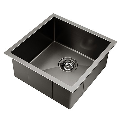 Kitchen Sink with Waste Strainer Black - 44 x 44cm - Free Shipping