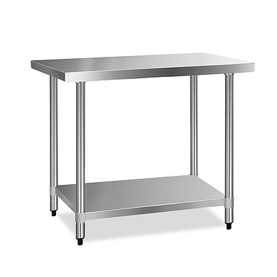 610 x 1219mm Commercial Stainless Steel Kitchen Bench - Free Shipping