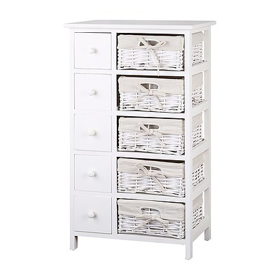 5 Basket Storage Drawers - White