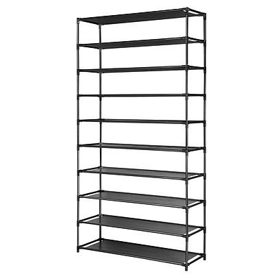 50 Pairs 10 Tier Shoe Rack Metal Shelf Holder Stackable Portable Black - Brand New - Free Shipping