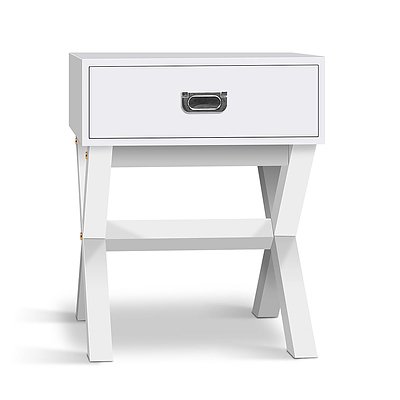 White Timber Bedside Side Table - RRP: $298.17 - Free Shipping