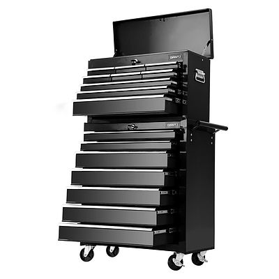 Tool Chest and Trolley Box Cabinet 16 Drawers Cart Garage Storage Black - Brand New - Free Shipping