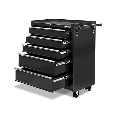 5 Drawers Roller Toolbox Cabinet Black - Free Shipping