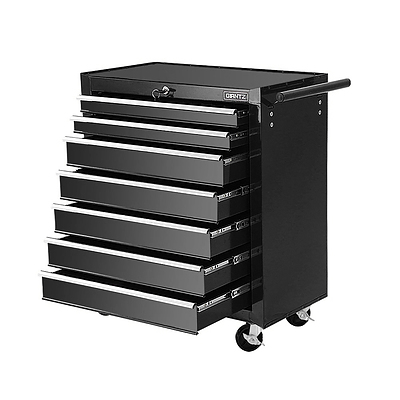Tool Chest and Trolley Box Cabinet 7 Drawers Cart Garage Storage Black - Brand New - Free Shipping
