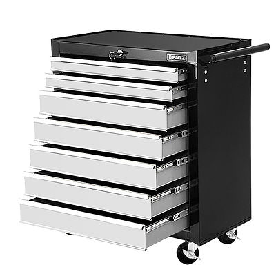Tool Chest and Trolley Box Cabinet 7 Drawers Cart Garage Storage Black and Silver - Brand New - Free Shipping