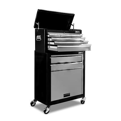 8 Drawers Mechanic Tool Box Cabinet Trolley - Black and Grey - Free Shipping