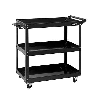 Tool Cart 3 Tier Parts Steel Trolley Mechanic Storage Organizer Black - Brand New - Free Shipping