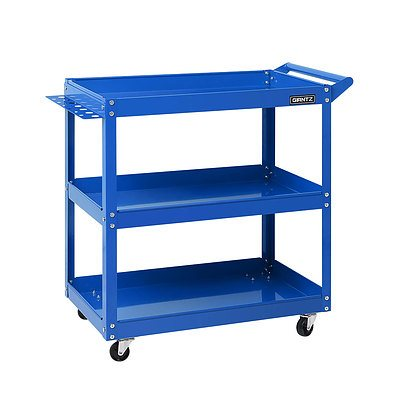 Tool Cart 3 Tier Parts Steel Trolley Mechanic Storage Organizer Blue - Brand New - Free Shipping