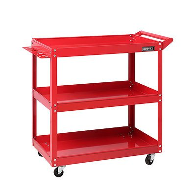 Tool Cart 3 Tier Parts Steel Trolley Mechanic Storage Organizer Red - Brand New - Free Shipping