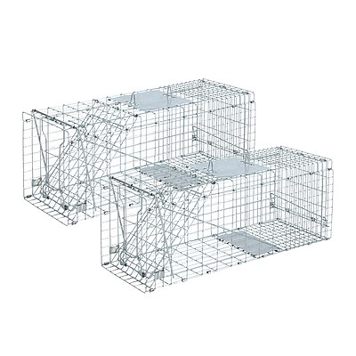 Set of 2 66 x 23 x 25cm Humane Animal Trap Cage - Silver - Brand New - Free Shipping