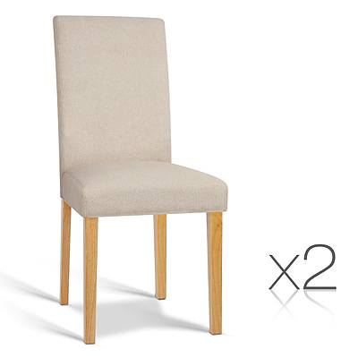 Set of 2 Fabric Dining Chair - Beige - Free Shipping