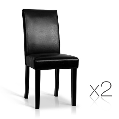 Set of 2 PU Leather Dining Chairs - Black - Free Shipping