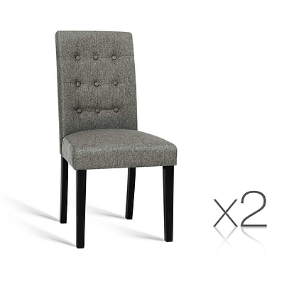 Set of 2 Fabric Dining Chair - Grey - Free Shipping