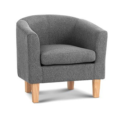 Abby Fabric Armchair - Grey - Brand New - Free Shipping