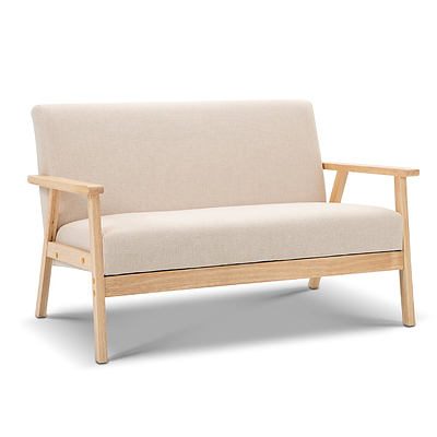 2 Seater Fabric Sofa Chair - Beige - Brand New - Free Shipping
