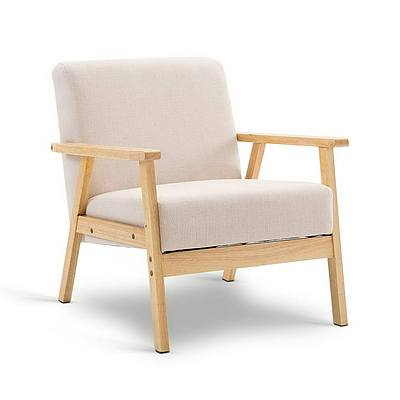 Fabric Dining Armchair - Beige - Free Shipping