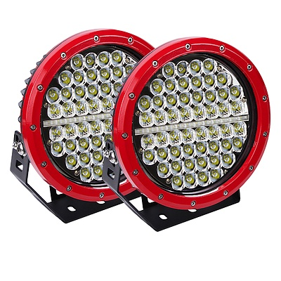 Pair 9inch 640w Cree LED Driving Light Red Spotlight Offroad HID 4x4 ATV - Brand New