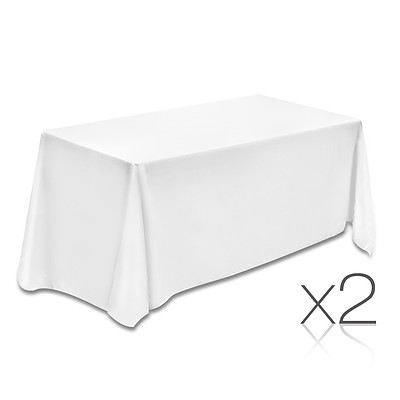 Set of 2 Table Cloths - White 137 x 244 - Brand New - Free Shipping