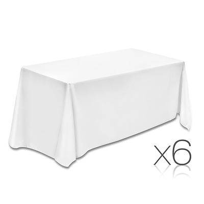 Set of 6 153 x 320 Table Cloths - White