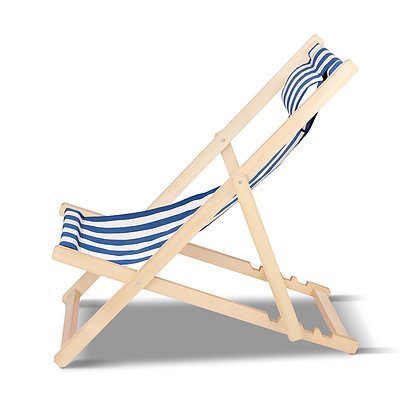 Fodable Beach Sling Chair - Blue & White Stripes - Free Shipping