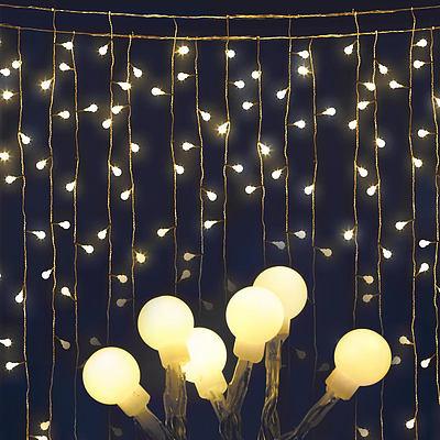 Jingle Jollys 600 LED Curtain Lights - Warm White - Free Shipping