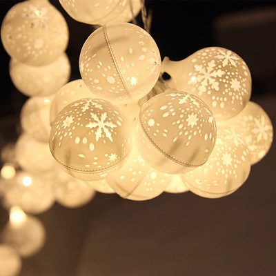 Jingle Jollys Christmas Snowflake Festoon String Lights 50LED Warm White - Free Shipping