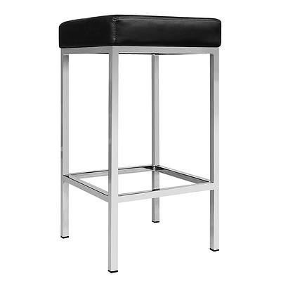 Set of 2 PU Leather Backless Bar Stool - Black - Free Shipping