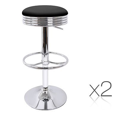 Set of 2 PU Leather Swivel Backless Bar Stool - Black - Free Shipping