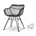 Set of 2 Rattan Dining Chair Black - Brand New - Free Shipping