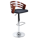Wooden Bar Stool with Fabric Seat - Dark Grey - Free Shipping