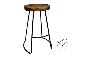 Set of 2 Steel Barstools with Wooden Seat - Brand New