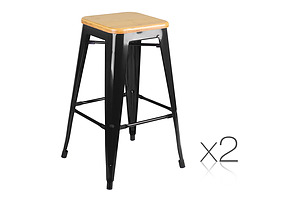 Set of 2 Bamboo Seat Metal Frame Bar Stool - Black - Free Shipping