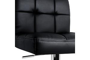 Set of 2 Swivel PU Leather Bar Stool - Black - Free Shipping