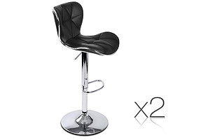 Set of 2 PU Leather Bar Stools - Black - Brand New - Free Shipping